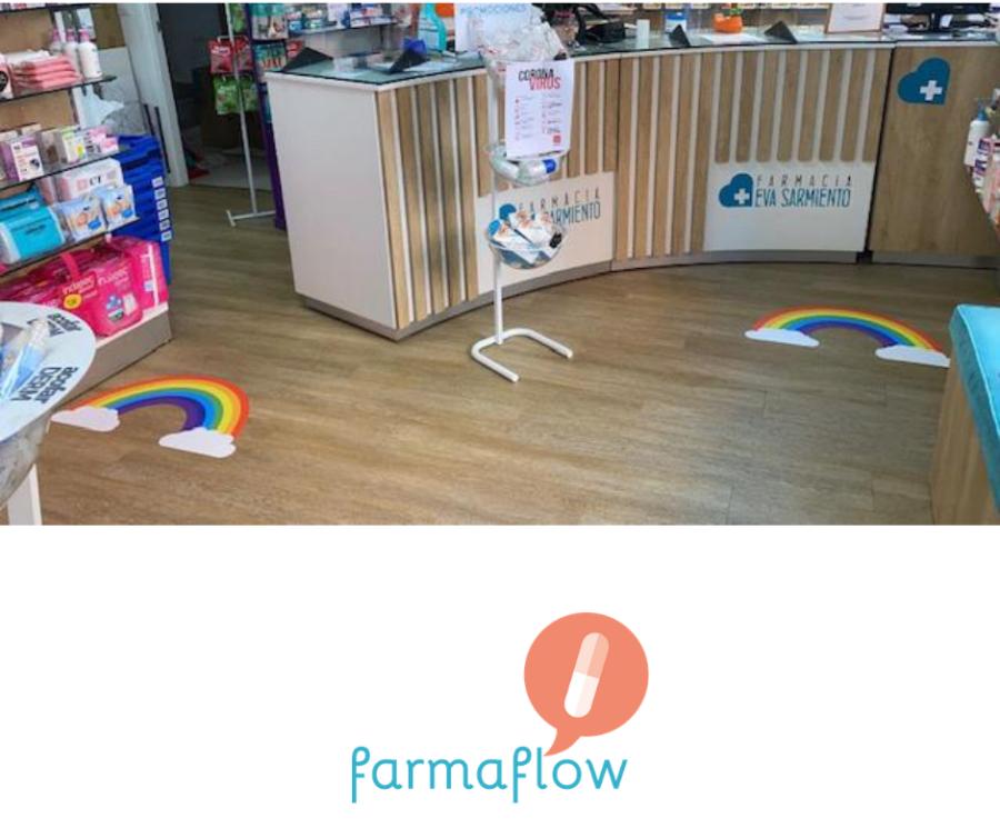 experiencia-de-cliente-farmacia-sarmiento-comunicación-suelo-covid-19-farmaflow
